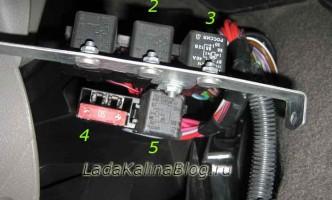 дополнительный блок реле управления вентилятором двигателя на Ладе Калине