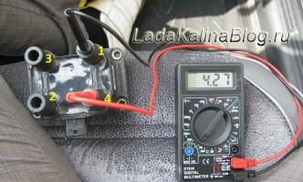 проверка на обрыв вторичных обмоток модуля зажигания на Ладе Калине