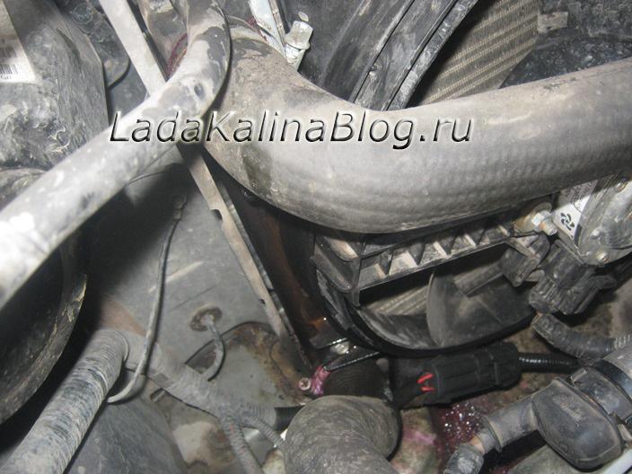 потек патрубок радиатора на Калине