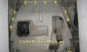 Снятие и установка защиты картера двигателя