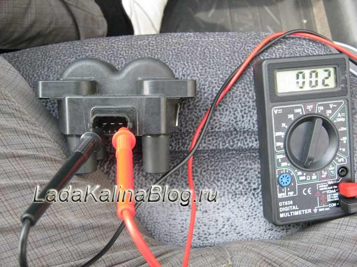 проверка на обрыв первичных цепей модуля зажигания на Ладе Калине