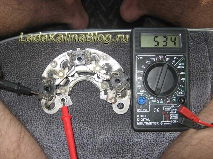проверка диодного моста генератора Лады Калины